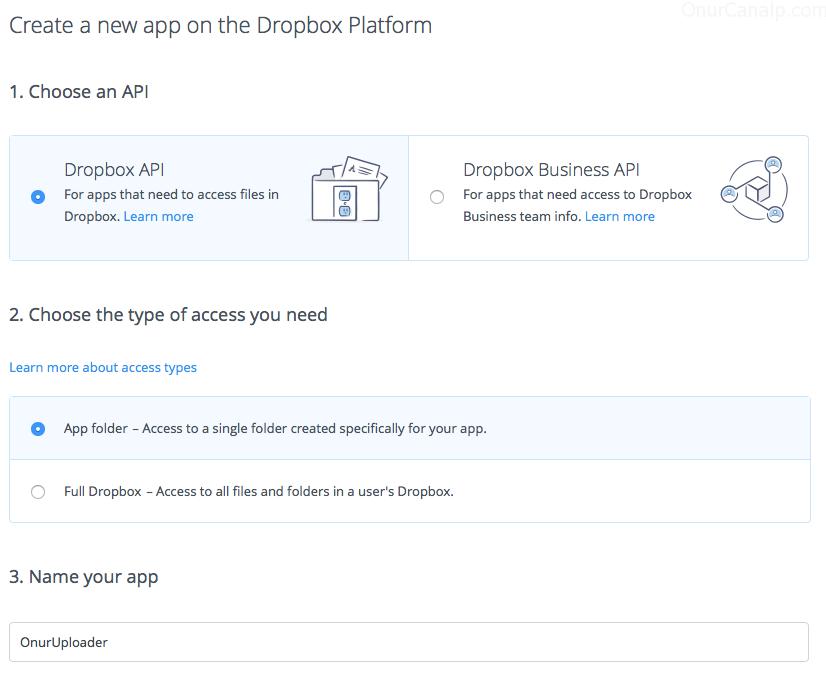 dropbox app create